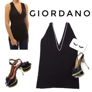 GIORDANO Black Sleeveless V Neck Top Bouse Shirt